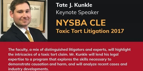 Tate Kunkle Speaker at NYSBA Toxic Tort Conference