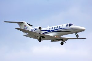 BERLIN GERMANY - AUGUST 17 2014: WinAir Cessna 525A Citation arrives at the Tegel International Airport.
