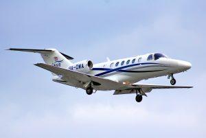 BERLIN GERMANY - AUGUST 17 2014: WinAir Cessna 525A Citation arrives at the Tegel International Airport.